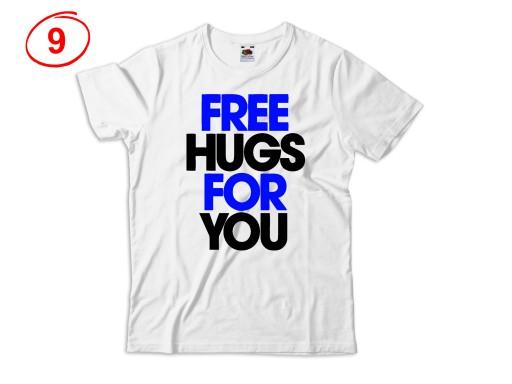 KOSZULKA MĘSKA Z NADRUKIEM PRZYTUL SIĘ FREE HUGS 8328625108 Odzież Męska T-shirty VX BGTHVX-9