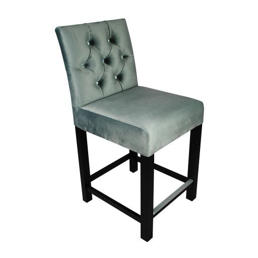 Hoker Krzesło Barowe Z Kołatką Pikowany Glamour