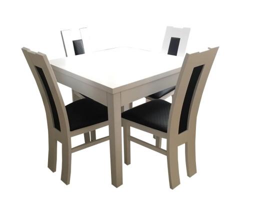 Biały Zestaw Stół 90x90 I 4 Krzesła Hit 7922985335 Allegropl