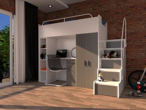 łóżko Piętrowe Z Biurkiem Szafą Regałem Komplet 7436203449 Allegropl