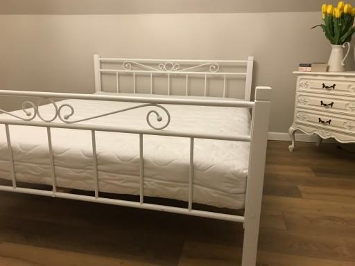 łóżko Metalowe Drewniane 120x200 Białe