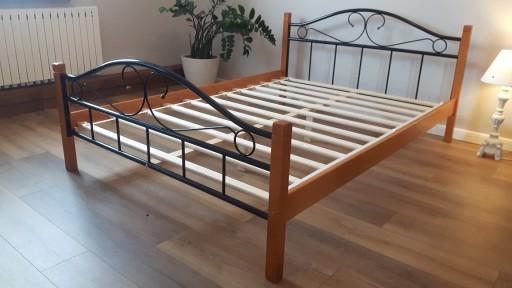 łóżko Metalowe Agata 160x200 Orzech Olcha Dąb
