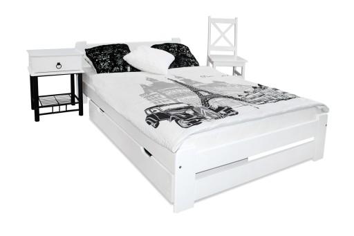 łóżko Sosnowe Eureka 160x200 Białe Stelaż Producen