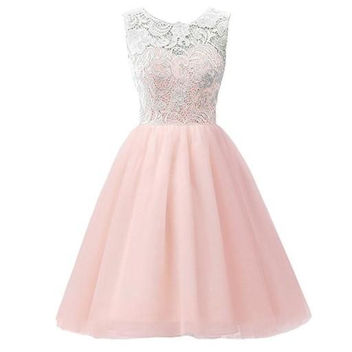 Koronkowa Sukienka Wesele 152 Rożowa Komunia 7865404041 Allegro Pl