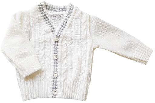 Biały sweter do chrztu dla chłopca serek rozpinany