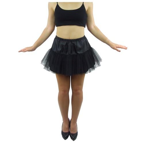 Halka tiulowa czarna subtelna piękna pin-up 35cm