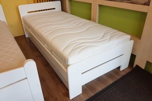 łóżko Drewniane Z Pojemnikiem Białe Proste 90x200