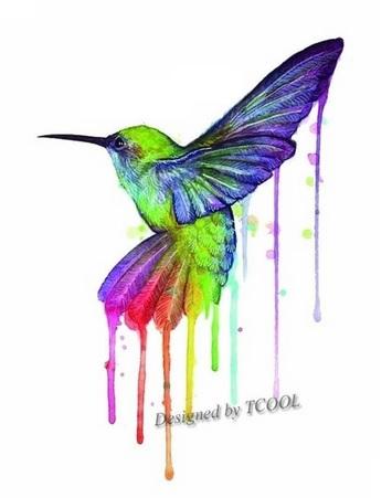 Tatuaż Zmywalny Koliber Kolorowy Akwarela 98x6cm 7557392097