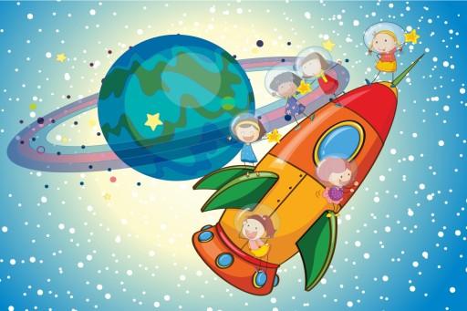Plakat dla dzieci kosmos,rakieta,dzieci 70x50 7140640241 - Allegro.pl