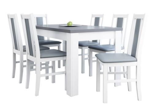 śliczny Komplet Białe Krzesła Rozkładany Stół