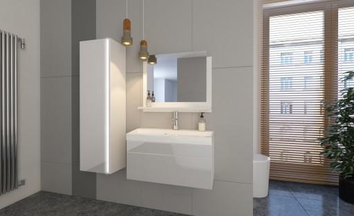 Meble łazienka Biały Połysk Szafka Lustro Shine 80