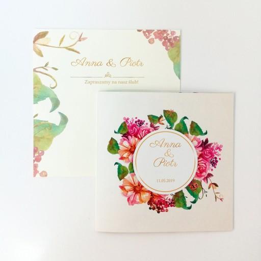 Zaproszenia ślubne Rustykalne Kwiaty Próbka 7346723252 Allegropl