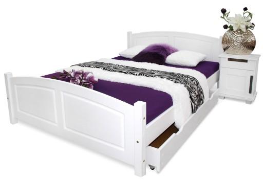 łóżko Drewniane Zyta 160x200 Białe Stelaż Nowość