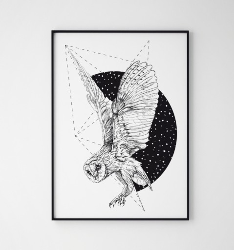 811fc2eb10b314 Plakat obraz sowa geometria czarno biały 70x100 cm Tematyka mapy ludzie  humor edukacyjne czarno-białe