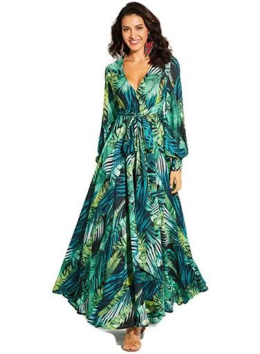 ab25587f8 Lato Włoska Zwiewna Sukienka Maxi Long Print 42 XL 7379923103 ...