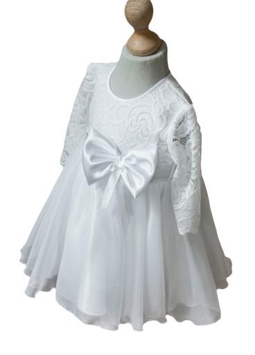 cf7b6aa301 Sukienka biała koronka wesele chrzest wizytowa 152 (7350946163 ...