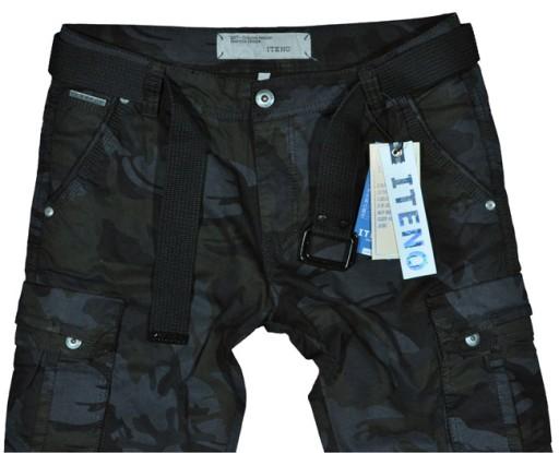 BojÓwki męskie Iteno 2096-1 moro czarne pas 88 /33 7507410662 Odzież Męska Spodnie TU EQAQTU-4