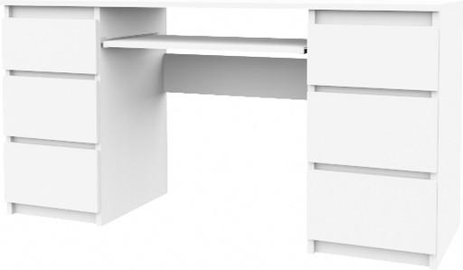 Biurko Komputerowe 130cm 6 Szuflad Stolik Biały