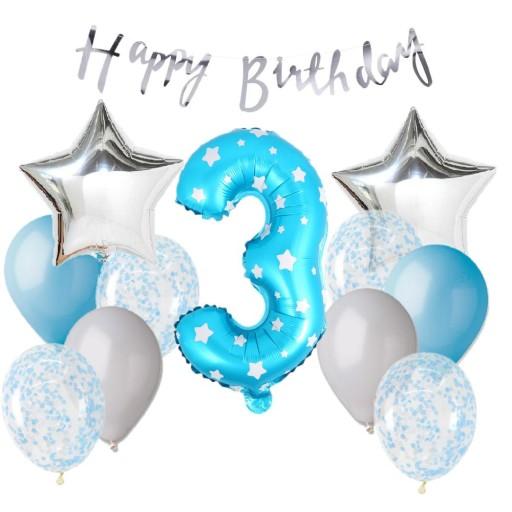 f42f39a3964aaf ZESTAW 3 urodziny Balon NIEBIESKI 40 CM 7458569527 - Allegro.pl