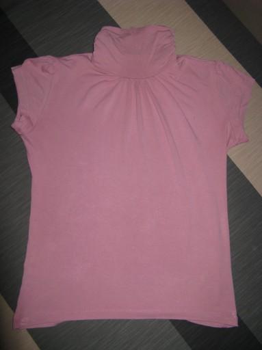 Różowy półgolf z krótkim rękawkiem S M 36 - 38