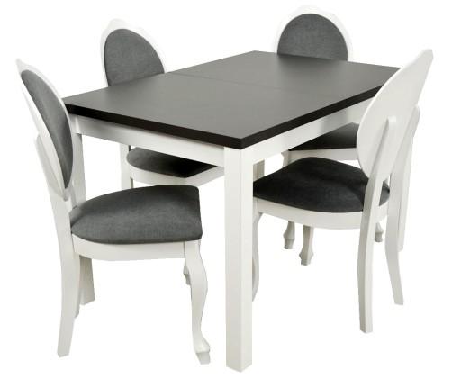 Stol 4 Krzesla Glamour Biale Drewno Ada Meble 7186815682