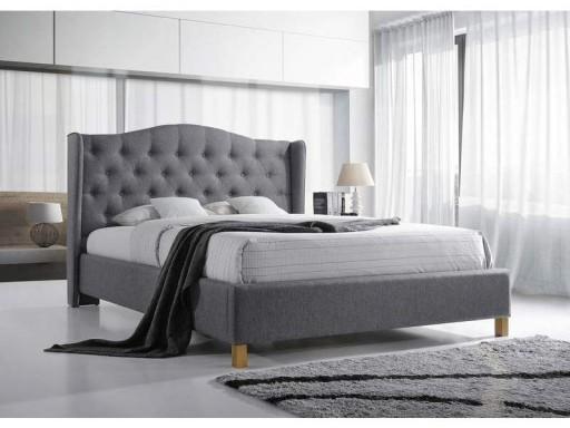 łóżko 180x200 Pikowane Szare Małżeńskie Stelaż New