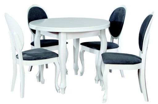 Okrągły Rozkładany Stół 4 Krzesła Biały