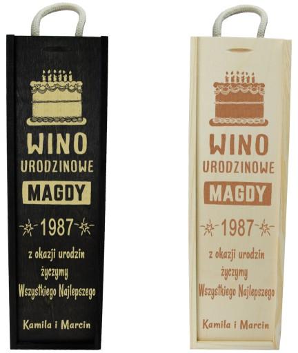 Pudełko Skrzynka Na Wino Z Grawerem Na Urodziny 7226524932 Allegropl