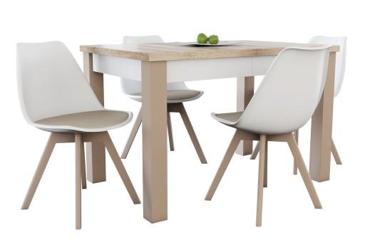 Stół 80x120x150 4 Nowoczesne Krzesła Do Kuchni