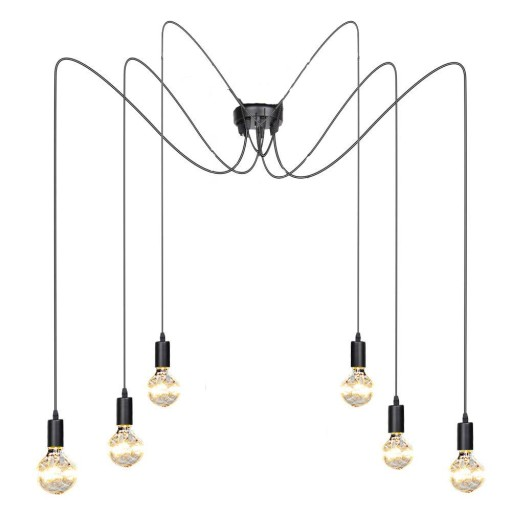 ŻYRANDOL LAMPA METAL PAJĄK SPIDER LOFT 1-16 RAM 2m