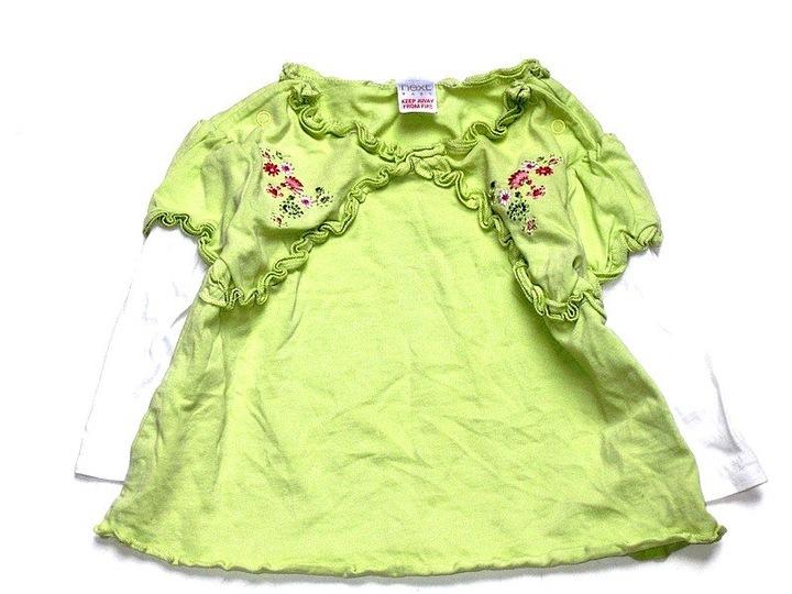 NEXT limonkowa bluzka tuniczka kwiatuszki ____ 68 9930585045 Dziecięce Odzież QV OQLMQV-5