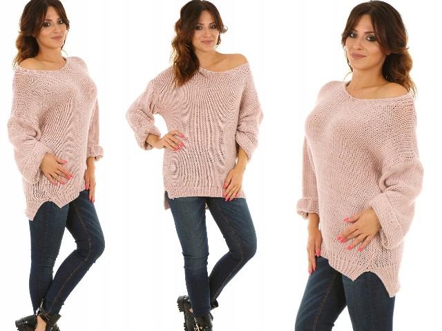 F325 SZEROKIE RĘKAWY sweter OVERSIZE 9671667366 Odzież Damska Swetry VL NPMQVL-9