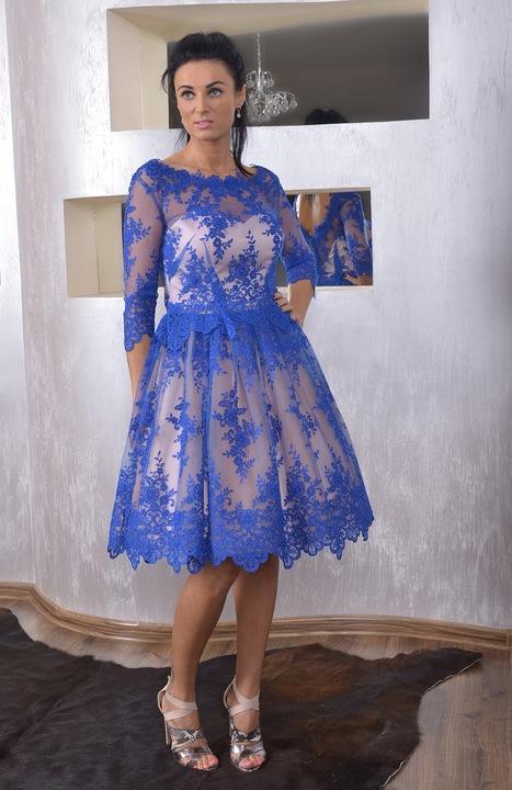 SZAFIROWA KORONKOWA SUKIENKA SZYTA NA MIARE RĘKAW 5861694480 Odzież Damska Sukienki wieczorowe SH QNWDSH-7