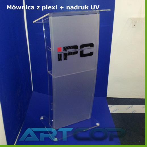mównica z plexi z nadrukiem UV